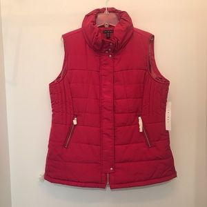 NWT Tribal Women's Cerise Puffer Vest with Zippers